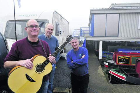 This Is Wiltshire: Terry Helyar, centre, with Warminster songwriter Paul Rogers and Hilperton Marina manager John Froggatt, right