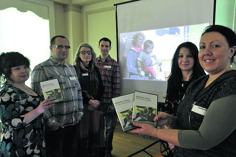 This Is Wiltshire: From left, project manager Rachel Efeney, Marak Kala, Ewa Kaczorek-Mahey, Rafal Maciolek, Mary Cullen and Justyna Suszek at the DVD launch