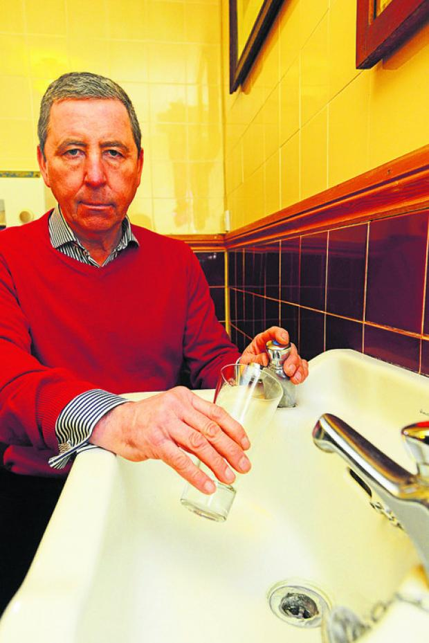 This Is Wiltshire: John Desmond at The Horse Shoe in Mildenhall, which lost its water supply on Sunday at lunchtime