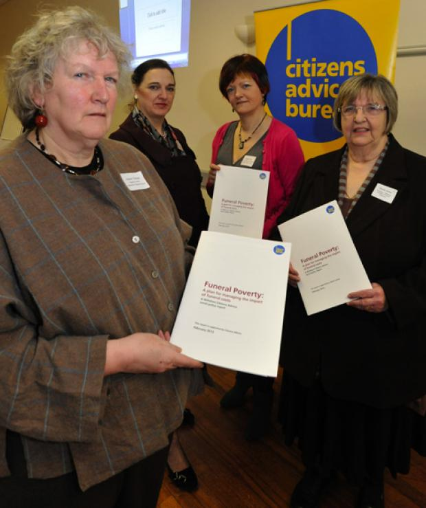 This Is Wiltshire: Author of a report into Funeral Poverty, Wiltshire CAB volunteer Alison Dewar (left) with Sheila Dicks, principal of Salisbury College of Funeral Services, Kirsty Field , CAB Social Policy co-ordiantor for Wiltshire and Teresa Perchard ,nat