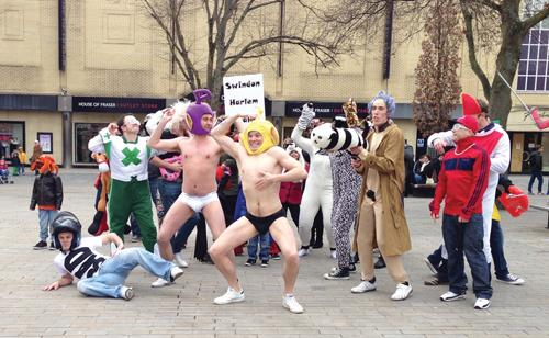The Harlem Shake being performed in Swindon town centre on Saturday