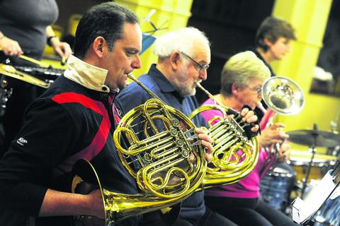 Members of Devizes Town Band rehearsing at the Wyvern Club
