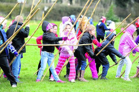 Pupils from Five Lanes School who took part in the Battle of Roundway demonstration