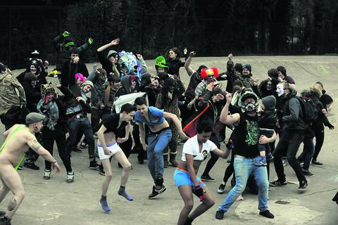 Calne residents do the Harlem Shake at the Bowl. A video of the event has received more than 4,000 views