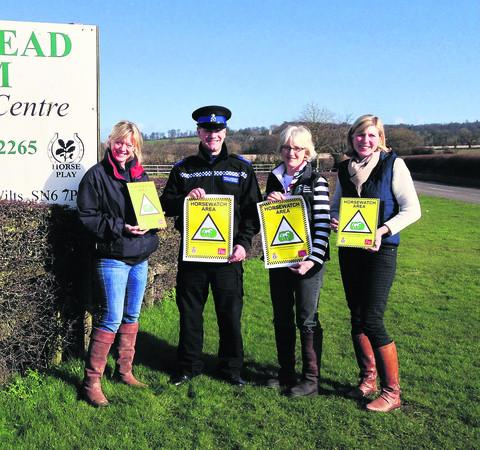This Is Wiltshire: From left, Vicki Mace (Wickstead Farm Equestrian Centre) , PCSO John Bordiss (Wiltshire Police Rural Crime Team), Jan Mckernan (British Horse Society), Tracy Barthram (Volunteer coordinator Wiltshire Horsewatch)