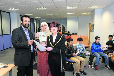 Chairman of the Wiltshire Islamic Cultural Centre Shazuli Iqbal with his wife, Suhaina, and Trowbridge's deputy mayor, Councillor Helen Osborn, at the open day at Willowside Park, held last Sunday