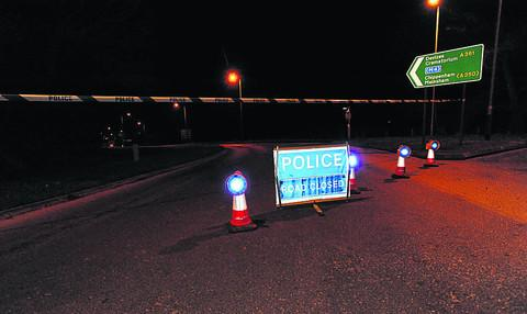 The road closed off at the Semington roundabout