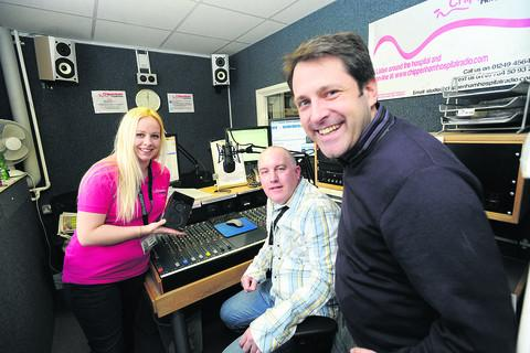 Presenter Donna Liggins, station manager Simon Hyde and Chippenham MP Duncan Hames at Chippenham Hospital Radio's relaunch