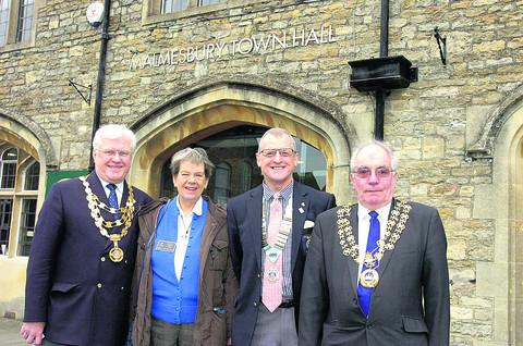 John and Sheila Minhinick with Rotary district governor David Houghton and Mayor of Malmesbury Ray Sanderson