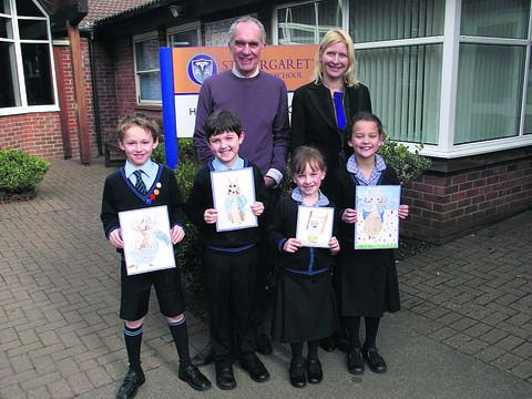 Glenn Carmichael and Claire Williamson from the Poetry Slam with Year 3 St Margaret's Preparatory School pupils Freddie, Harrison, Phoebe and Chantelle
