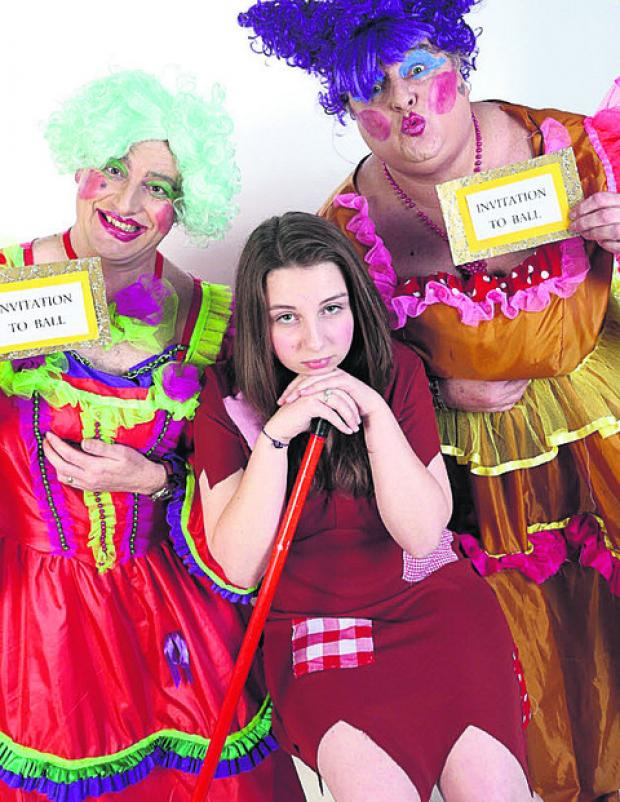 Rosie Killeen as Cinderella with ugly sisters Alun Harris and Ian Edgely