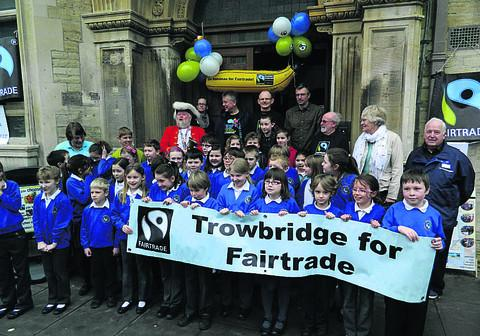 Schoolchildren in Trowbridge, adding their support to the town's Fairtrade message
