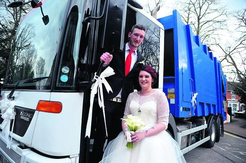 This Is Wiltshire: Hannah Nuttall and Will Banyard with the dustbin van that they travelled in on their wedding day