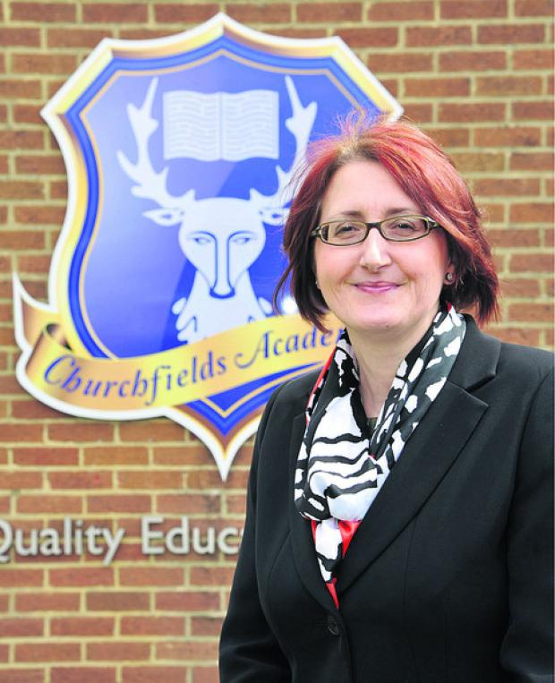 This Is Wiltshire: Headteacher Sharon Kirwan, outside Churchfields Academy