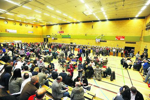 This Is Wiltshire: Beer lovers fill the hall at the Olympiad