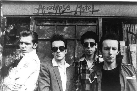"This Is Wiltshire: Half of their gear went up in smoke but The Clash still managed to play an incendiary gig in Swindon 36 years ago. Joe Strummer (second left) sang ""Swindon's"" Burning instead of London's Burning."