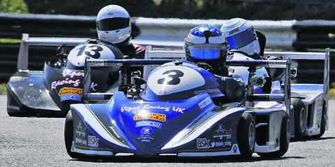 This Is Wiltshire: James O'Reilly wins the MSA British Superkart at Combe yesterday (Photo: Trevor Porter)
