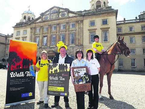 This Is Wiltshire: From left, Marie Curie supporter Irene Vallis, Breeze FM presenter Tony Wright, Marie Curie nurse Catherine LeRoy, Breeze FM presenter, grooms girl Jadie Myatt and Playboy the horse