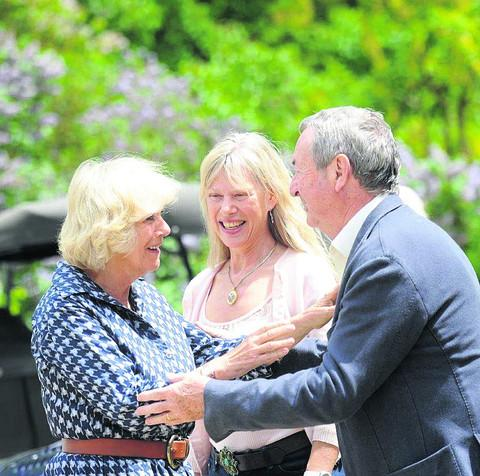 This Is Wiltshire: Nick Mason and wife Annette with the Duchess of Cornwall at last year's event