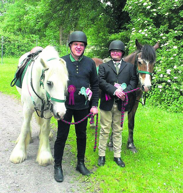 This Is Wiltshire: Summer Show riding winners Damian Chilcott, left, with grey horse
