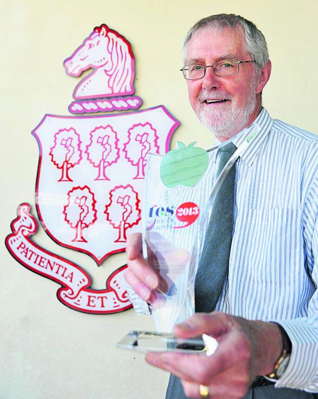 This Is Wiltshire: Peter Sheppard, from Royal Wotton Bassett Academy, won a lifetime achivement award at the TES awards