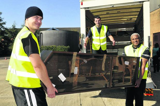 This Is Wiltshire: Daniel Robinson and James Dawson of the Gateway Funiture Project load furniture for delivery