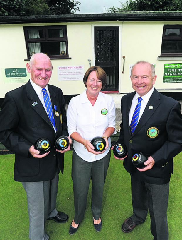 This Is Wiltshire: Pewsey Bowls Club president Don Andrews, ladies' captain and project manager Caroline Sprott and chairman of the house John Stephens last year