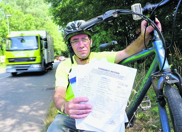 This Is Wiltshire: Chris Passmore has submitted a petition to the council with 300 signatures for the installation of a cycle path and lighting down Kingsdown Road