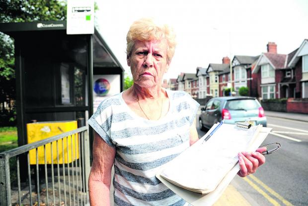 This Is Wiltshire: Rita Hawkins with the petition she has started to save the No 22 bus service