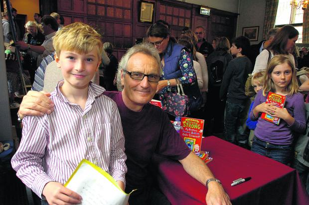 This Is Wiltshire: Liam Moore-Bethel, limerick competition winner, with Jeremy Strong  (PM719) PICTURE: PAUL MORRIS