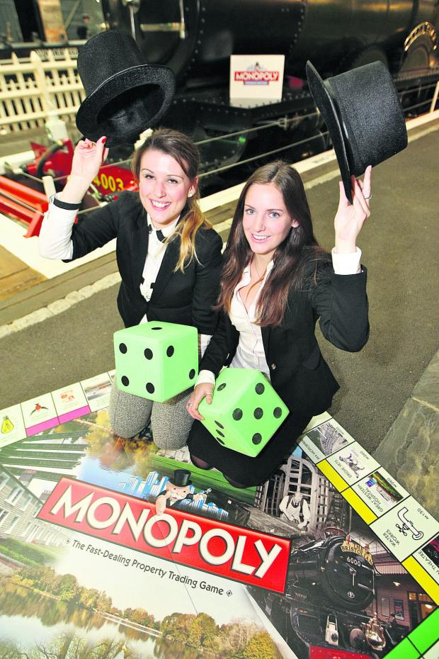 This Is Wiltshire: Ashleen Lavender and Rachel Duffy at the launch of Monopoly: Swindon Edition