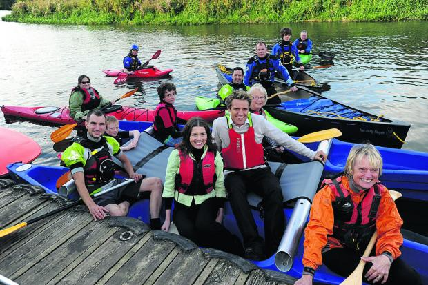 This Is Wiltshire: Olympian James Cracknell during a visit to Chippenham Sailing Club last year