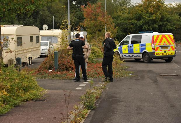 This Is Wiltshire: Police monitor travellers at Groundwell last year