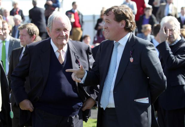 This Is Wiltshire: Richard Hannon junior (right), with his champion trainer father, who retired at the end of last year
