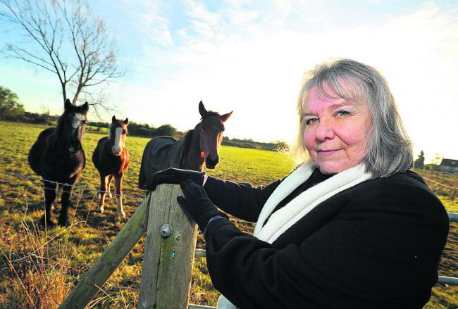 Sylvia Brown, the vice-chairwoman of South Marston Parish Council at the spot where 2,380 homes could be built on land near South Marston