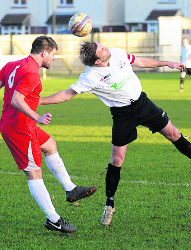 This Is Wiltshire: Glenn Armstrong (right) scored twice in Calne Town's 6-0 win over Portishead Town