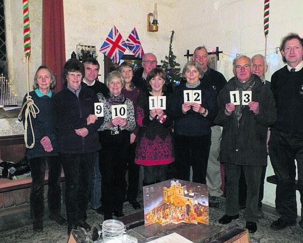 This Is Wiltshire: Bell ringers from left, Judy Buxton Dean, Pat Tucker, Geoff Buxton Dean, Ann Woodhead, Janice West, Roger Carter, Lynda Beaven, Gill Verschoyle, Steve Turpin, Ian Woodhead, John Tucker and finally Michael Moore who directs the ringing as tower captain