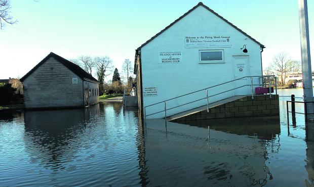 This Is Wiltshire: Malmesbury's Flying Monk ground was under water as floods hit just before Christmas