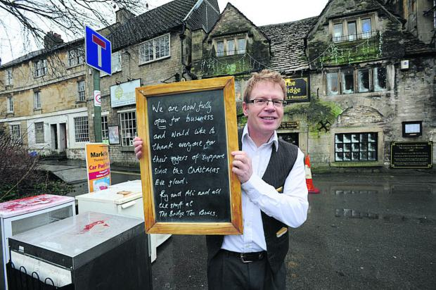 This Is Wiltshire: Roy Hayward, owner of the Bridge Tea Rooms which reopened on Monday