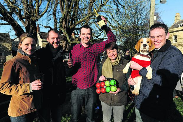This Is Wiltshire: Sam Liverton of the Ham Tree with Holt Boules winners Amanda and Paul Girdler and, right, Kristy and Mark Field of the Beagles team  Photo: Trevor Porter (48127)