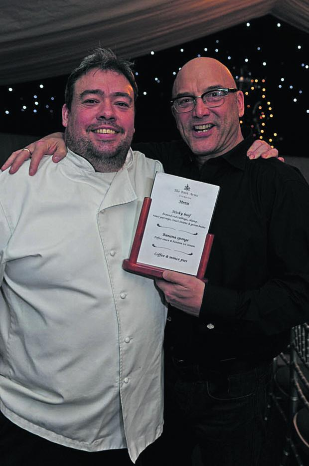 This Is Wiltshire: Bath Arms owner Dean Carr with long-time friend Gregg Wallace last night