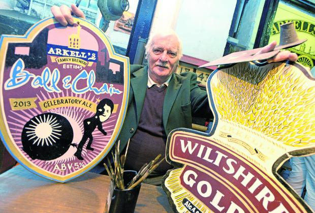 This Is Wiltshire: Ron Harper, the chief sign writer at Arkells brewery, who  is retiring