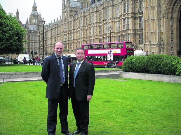 This Is Wiltshire: North Swindon MP Justin Tomlinson with his South Swindon colleague Robert Buckland outside the Houses of Parliament