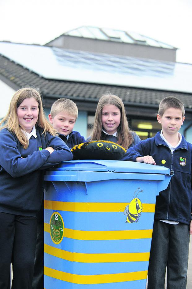 This Is Wiltshire: Year 6 eco monitors, from left, Alice, Ben, Mia and Leighton