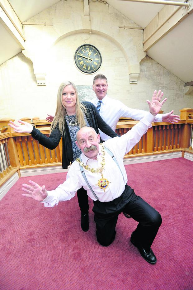 This Is Wiltshire: Andy Trusler and Franchesca Moore, back and centre, get some practice in with Devizes Mayor Pete Smith