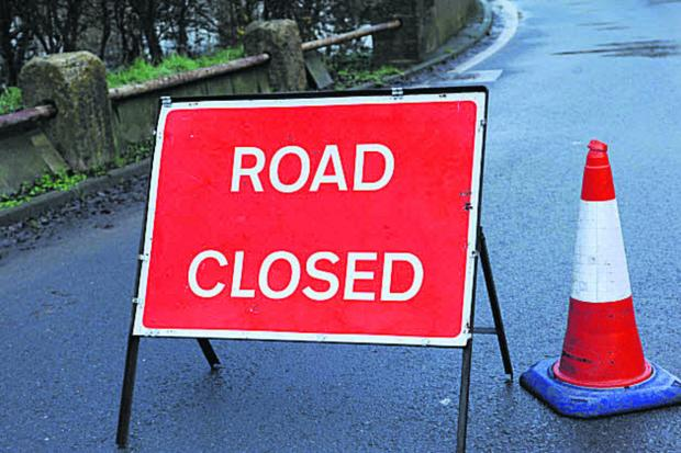This Is Wiltshire: The B3105 remains closed at Staverton, near Trowbridge, following flooding. The fire service is reminding motorists not to ignore road closure notices