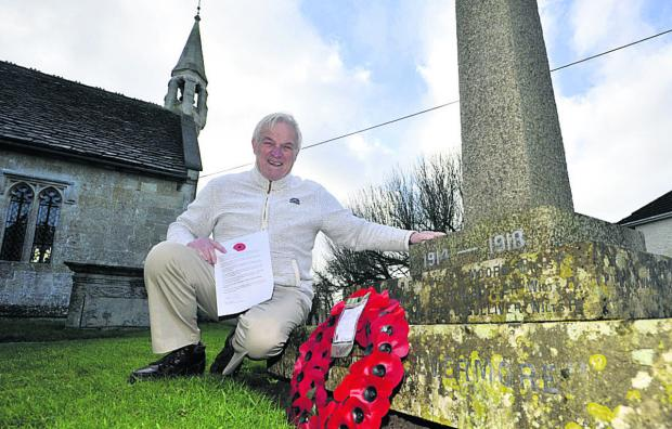 This Is Wiltshire: Amateur historian Ray Heard is raising funds to restore the Semington village memorial