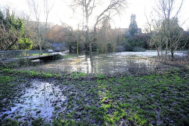 This Is Wiltshire: The water levels near the lower car park in Malmesbury yesterday