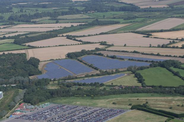 This Is Wiltshire: The solar farm at South Marston, with Honda bottom left