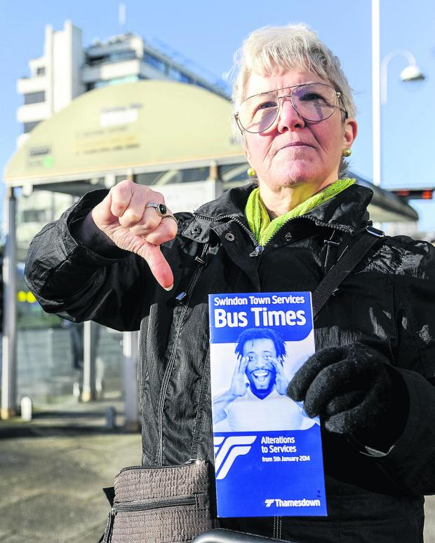 This Is Wiltshire: Linda Meadows at Fleming Way Bus stop Picture: Alex Skennerton